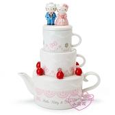 小花花日本精品Hello Kitty結婚蛋糕禮服公仔站姿陶瓷下午茶杯壺組凱蒂丹尼爾11291008
