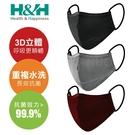【H&H】奈米鋅口罩 3D立體口罩 (重複水洗 台灣製)