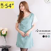洋裝--優雅纖細珍珠領口雪紡波浪袖完美腰身傘擺洋裝(黑.灰.綠S-2L)-D300眼圈熊中大尺碼