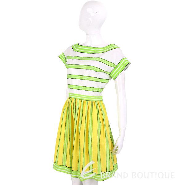BOUTIQUE MOSCHINO 檸檬黃綠拼接條紋短袖洋裝 1620516-08