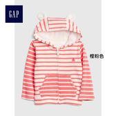 Gap男女嬰兒 舒適條紋熊耳朵連帽拉鏈上衣 399994-橙粉色