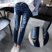 MIUSTAR 個性抓破噴漆微刷白丹寧窄管褲(共1色,S-L)【NH3538EP】預購