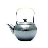 日本銅器【銀川堂】燻銀銅壺 藤把急須 0.36L 黃銅銀壺 漣漪波紋 銅底鍍銀小茶壺 GINSENDO御用日本製