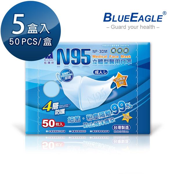 【醫碩科技】藍鷹牌 立體型成人醫用口罩 50片*5盒 NP-3DM*5