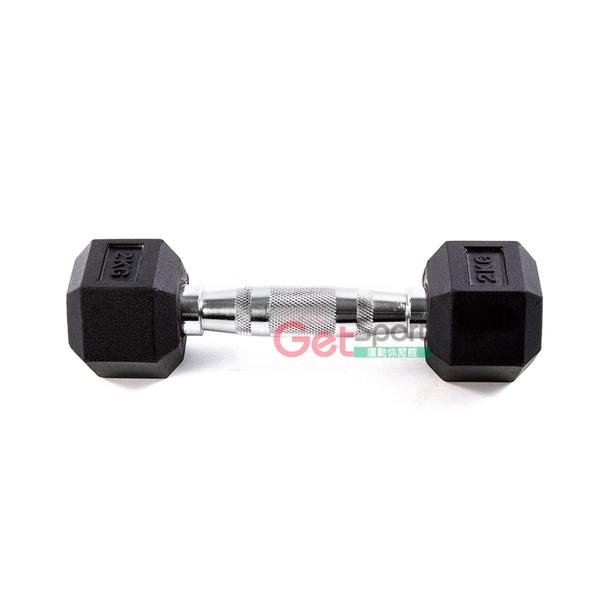 六角包膠啞鈴2公斤(2kg/舉重/重訓/肌力訓練/二頭肌/肌肉線條)