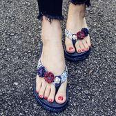 沙灘鞋拖鞋女夏海邊防滑外穿厚底夾腳涼拖中跟度假時尚人字拖 愛麗絲精品