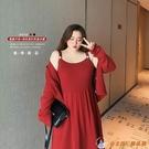 超大碼洋裝女裝胖顯瘦針織吊帶開衫連身衣裙...