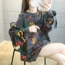 長袖T恤 衛衣女秋冬韓版寬鬆bf慵懶風加...