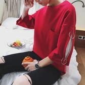 短袖t恤男2018夏正韓個性中袖半袖青少年學生七分袖體恤【全館鉅惠風暴】