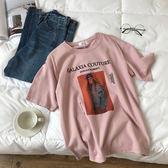 韓版寬鬆休閒棉麻印花個性破洞短袖t恤女裝