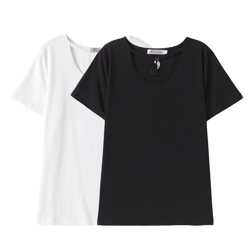 中大尺碼 流蘇U領T恤上衣~共兩色-適XL~5L《 62809G1 》CC-GIRL 新品