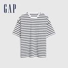Gap男裝 厚磅密織系列碳素軟磨 基本款素色短袖T恤 735902-海軍藍條紋