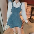 洋裝 氣質襯衫拼接牛仔連身裙女2021春裝新款修身長袖假兩件a字短裙潮