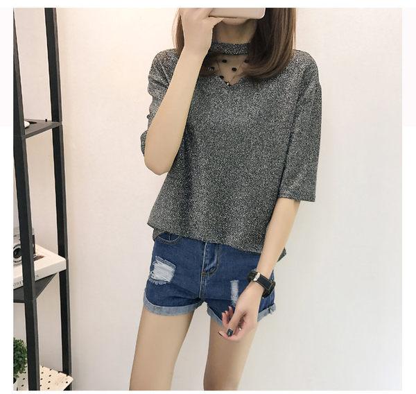 找到自己 G5 韓國時尚 夏季 網紗 拼接 短袖 T恤 性感 亮絲 打底衫