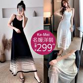 克妹Ke-Mei【AT60723】TEXCO!超強設計感併接歐根紗吊帶針織中長洋裝