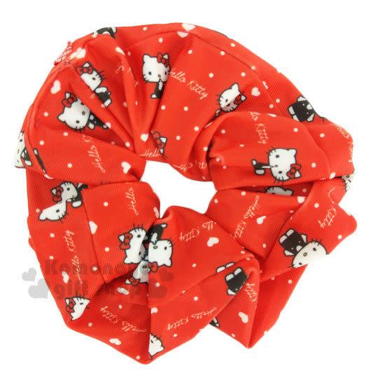 〔小禮堂〕Hello Kitty 髮圈《紅.白愛心.側坐》大腸圈.髮飾 4712977-46324