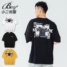 短T恤 MIT韓版NEW YORK街頭相片印花五分袖短袖上衣【NW621031】