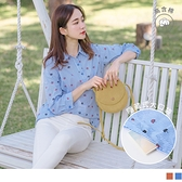 高棉印圖側口袋襯衫領條紋上衣--適 XL~6L OrangeBear《AB12315》