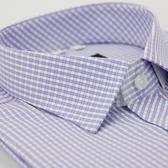 【金‧安德森】紫白格紋窄版短袖襯衫