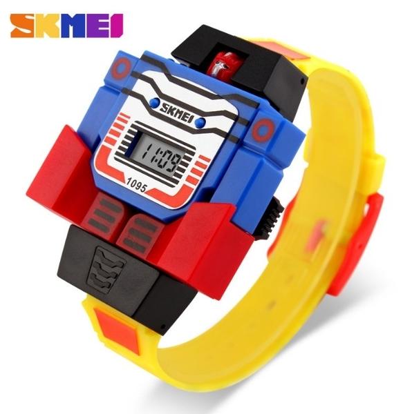SKMEI 時尚創意手錶 兒童電子錶 可拆超人玩具錶 機器人 SK1095黃 兒童手錶 電子錶 變形金剛 時刻美