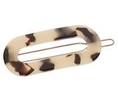 France Luxe 橢圓簍空豆扣夾(象牙琥珀)