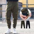 縮口褲 美式機能立體多口袋魔鬼氈工裝褲縮...