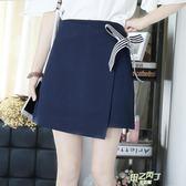 正韓新品半身裙女綁帶條裝飾簡約氣質短裙包裙百搭高腰大尺碼黑色裙