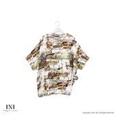 【INI】有型曲線、摺衣不規則斜擺寬版上衣.綠色