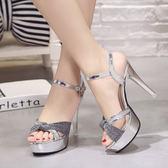 高跟涼鞋 夏季新款女涼鞋歐美夜店性感防水臺超高跟一字扣帶百搭女鞋 小宅女大購物