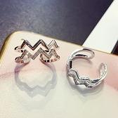 戒指 925純銀 鑲鑽-雙層心跳生日情人節禮物女開口戒2色73dv28【時尚巴黎】