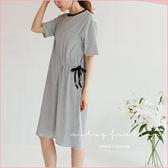 洋裝  橫條紋造型抽繩棉質洋裝  二色-小C館日系