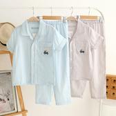 兒童睡衣 短袖長褲睡衣卡通汽車格子全棉紗布中大童家居服套裝 莎瓦迪卡