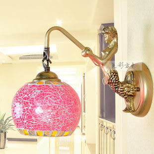 設計師美術精品館壁燈歐式田園地中海馬賽克單頭美人魚壁燈鏡前燈床頭燈138紫紅色加