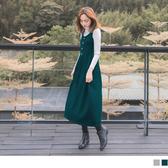 《DA7151-》純色U領裝飾釦針織無袖背心洋裝 OB嚴選
