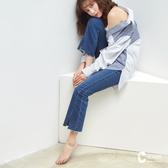 CANTWO JEANS韓版3D激瘦喇叭褲-牛仔藍