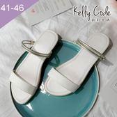 大尺碼女鞋-凱莉密碼-時尚細帶多用途兩穿真皮平底涼鞋2cm(41-46)【YG4057】白色