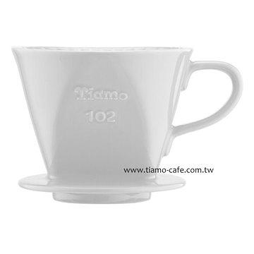 金時代書香咖啡  TIAMO 102 陶瓷 咖啡濾器組 白 附量匙滴水盤  HG5047