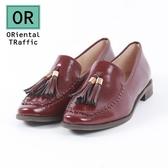 【ORiental TRaffic】時髦編織方頭流蘇樂福鞋-復古酒紅