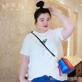 2018胖mm大碼女裝夏季新款修身顯瘦印花上衣加肥加黑色短袖T恤女 美芭
