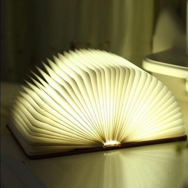 TW創意變色LED書本燈便攜式翻頁折紙書燈USB充電小夜燈裝飾折疊臺燈