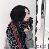 圍巾圍脖 豹紋流蘇仿羊絨圍巾女冬