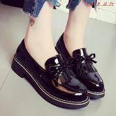 韓版軟妹黑色小皮鞋平底工作鞋