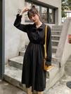 小黑裙甜美赫本小黑裙2019秋裝新款中長款領口系帶收腰顯瘦法式連身裙女 伊蒂斯