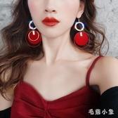 紅色大圓圈耳環女夸張個性大耳釘氣質長款時尚耳墜耳飾品 LR22911『毛菇小象』
