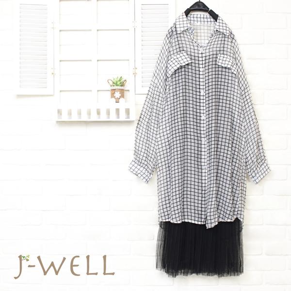 J-WELL 薄透感格紋長上衣內襯洋二件組(組合A132 8P8308黑格+8J1311黑)