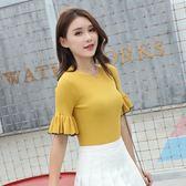 冰絲中袖針織T恤女韓版新品夏季短款喇叭袖打底上衣LJ7689『科炫3C』