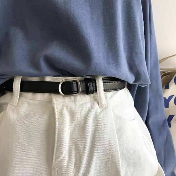 韓國東大門新款韓版黑色小腰帶無孔女學生扣皮帶軟不用打孔 【年貨大集Sale】