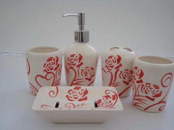 紅色抽象玫瑰 衛浴用具 用品漱口杯 牙刷筒5件套 浴室用品套件