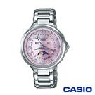 CASIO卡西歐 完美優雅氣質日月相施華洛世奇女腕錶-粉x35mm  SHE-3044D-4A