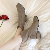 女鞋2019新款冬季馬丁靴女英倫風百搭粗跟高跟鞋秋冬彈力靴子短靴 伊衫風尚